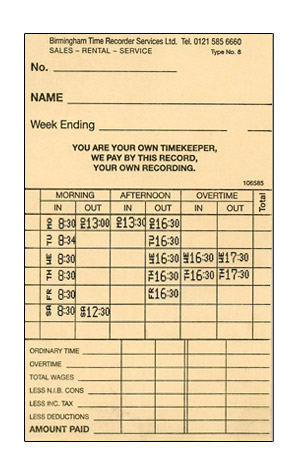Clock Cards – Example of a 37.5 hour week