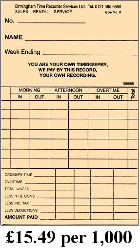 Clock Cards  Time Cards From Birmingham Time Recorder Services